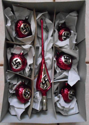 WW2 Christmas Ornaments Red Hearts
